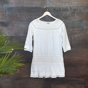 Lucky Brand White Cotton and Lace Mini Dress